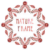 Watercolor leaves and garnet vector burgundy frame Stock Photo