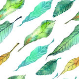 Watercolor leaves seamless floral background Stock Photo