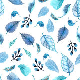 Watercolor leaves seamless floral background Stock Photos