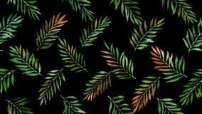 Watercolor leaves seamless pattern on black stock images