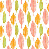 Watercolor leaves seamless pattern. Hand paint background. Can be used for wrapping paper and fabric design. Royalty Free Stock Photo
