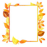 Watercolor leaves square frame. paper Stock Images