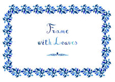 Watercolor leaves vector blue frame with handwritten cursive text. Watercolor leaves vector frame with handwritten cursive text (horizontal in blue colors Stock Photography