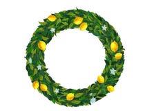 Lemon wreath with green leaves vector illustration