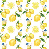 Watercolor lemonade seamless pattern. Citrus andcocktail ornament isolatedon white background. For design, fabric or stock illustration