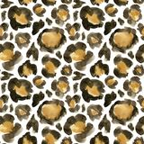Watercolor leopard camouflage big seamless pattern. Hand painted beautiful illustration with animal points isolated on. White background. For design, print stock illustration