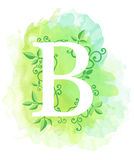 Watercolor letter calligraphy on watercolor background. Natural elements leaves curls design an element for web poster typographic Stock Image