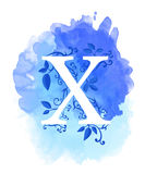 Watercolor letter calligraphy on watercolor background. Natural elements leaves curls design an element for web poster typographic Stock Photo