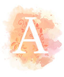 Watercolor letter calligraphy on watercolor background. Natural elements leaves curls design an element for web poster typographic Royalty Free Stock Photo