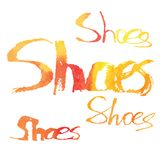 Watercolor lettering. Shoes. Stock Photos
