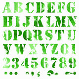 Watercolor letters. Grunge full alphabet and numbers Royalty Free Stock Photo