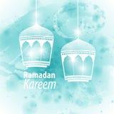 Watercolor light blue blob Ramadan kareem. Watercolor light blue blob illustration Ramadan kareem mubarak. Beautiful islamic stylized lantern traditional