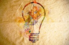 Watercolor light bulb, old paper background Royalty Free Stock Images