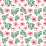 Watercolor Light Pink Flowers And Green Fern Seamless Pattern Royalty Free Stock Photography