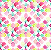 Watercolor Light Yellow and Pink Squares Repeat Pattern Royalty Free Stock Photos