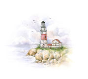 Watercolor lighthouse. Drawing of a sea landscape. Handwork. Stock Images
