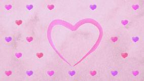 Watercolor lilac pink purple hearts appearing at carton paper like drawing of artists. Heartbeat bounce motion. Animation of hearts for Valentine Day or stock footage