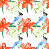 Watercolor lily and bird in vintage style Royalty Free Stock Photos