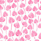 Watercolor lily flower leaf pattern Royalty Free Stock Photography