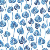 Watercolor lily flower leaf pattern Stock Photography