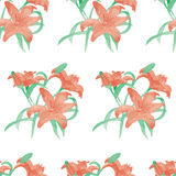Watercolor lily flower seamless pattern. Lily watercolor seamless pattern. Painted by hand stock illustration