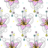 Watercolor Lily Seamless Pattern Stock Photography
