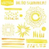 Watercolor line brushes,burst,rays.Yellow.Hello Stock Photo