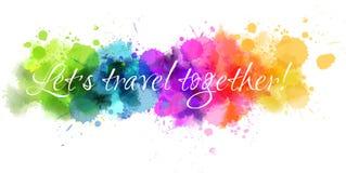 Watercolor line travel background vector illustration
