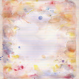 Watercolor on lined note book paper background Stock Image