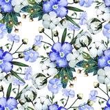 Watercolor linen and cotton pattern Royalty Free Stock Photography