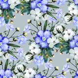 Watercolor linen and cotton pattern Royalty Free Stock Photo