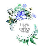 Watercolor linen and cotton. Stock Images