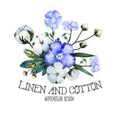 Watercolor linen and cotton Stock Photography