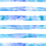 Watercolor lines seamless pattern. Horizontal lines seamless pattern. Abstract watercolor hand painted texture background in bright blue color Stock Photography