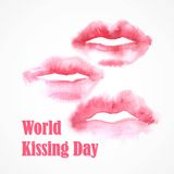 Watercolor lips. World Kissing Day Royalty Free Stock Photos