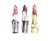 Watercolor lipsticks set. Fashion makeup sketches. Vogue style. Beauty and cosmetic illustration. Royalty Free Stock Photos