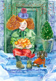 Watercolor little girl with dog. Watercolor painting. New year greeting card. Girl and tangerines on the snowy porch Royalty Free Stock Photo