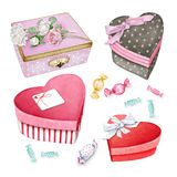 Watercolor little heart-shaped boxes and candies Stock Photo