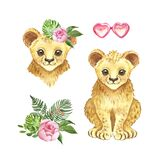 Watercolor little lion with tropical floral bouquet. Cute cartoon lion cub, palm leaves, pink flower, isolated on white