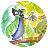 Watercolor little magic cricket with lantern  circle isolated Royalty Free Stock Images