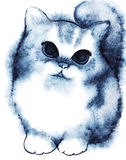 Watercolor little navy blue white fluffy cartoon kitten Royalty Free Stock Image