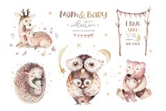Watercolor little owl, bear deer and hedgehog baby and mother watercolour cartoon nursery card. Forest funny young