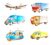 Watercolor logistic set collection of cargo transport for cards isolated on white background. Airplane, container truck, van truck royalty free illustration