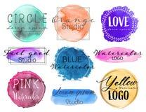 Watercolor logo set, Feminine logo design set. Watercolor logo set, Feminine logo design set, Colorful vector Illustration stock illustration