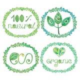 Watercolor logotypes eco set Royalty Free Stock Photos