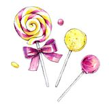 Watercolor lollipop. Hand drawn illustration. Stock Photos