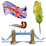 Watercolor London illustration. Great Britain hand drawn symbols. Stock Photos