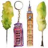 Watercolor London illustration. Great Britain hand drawn symbols. Big Ben. royalty free illustration