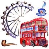 Watercolor London illustration. Great Britain hand drawn symbols. British bus vector illustration