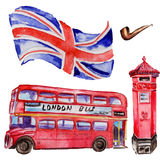 Watercolor London illustration. Great Britain hand drawn symbols. British bus. Aquarelle elements for background, texture, wrapper pattern Stock Photo